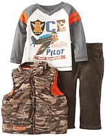 Фирменный костюм для мальчика на 1-2 года из 3 предметов жилетка брюки и реглан