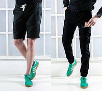 Штаны мужские трансформеры брюки черные на шнурке