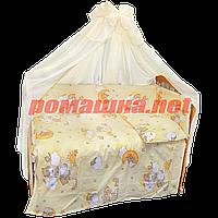Набор в детскую кроватку из 7 предметов: постель, защита, балдахин, одело 110х85,подушка,100% хлопок Песочный