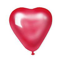 Латексные воздушные шары Gemar Италия, расцветка: красный металлик, форма: Фигурные, Сердце, Диаметр 6 дюймов/