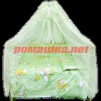 Набор в детскую кроватку из 7 предметов: постель, защита, балдахин, одело 110х85,подушка,100% хлопок Оливковый