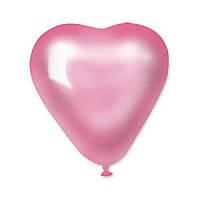 Латексные воздушные шары Gemar Италия, расцветка: розовый металлик, форма: Фигурные, Сердце, Диаметр 6 дюймов/