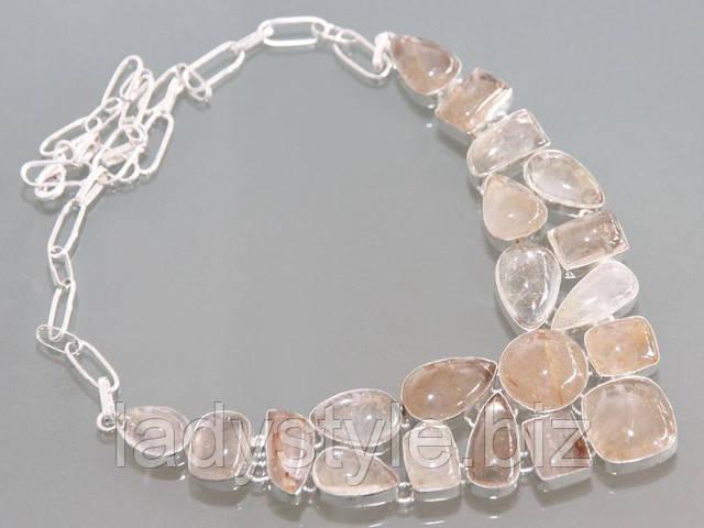 серебряные украшения с натуральным волосатиком колье ожерелье