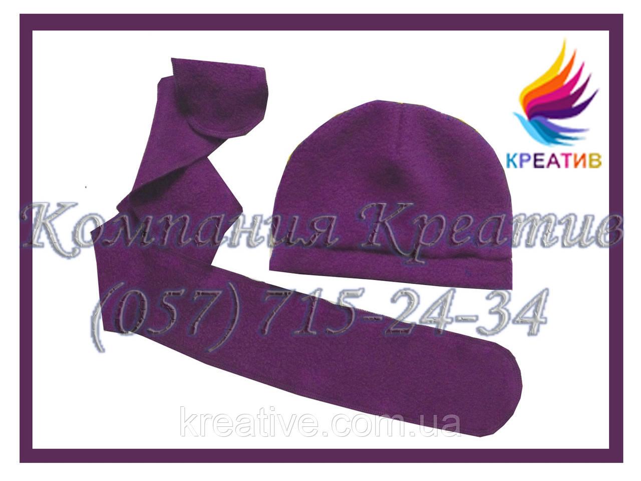 Детский комплект из флисова (шапка+шарф) с Вашим логотипом (от 50 шт.)