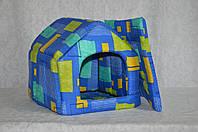 Домик для котов и собак стандарт синий орнамент
