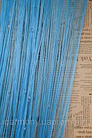 Кисея шторы нити со стеклярусом голубая (11)