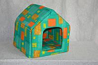 Домик для собак или кошек стандарт зеленый орнамент