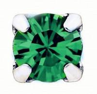 Стразы Swarovski в серебряных цапах rodium 17704 Emerald