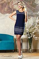 Темно-синее креп-шифоновое платье  2142 Seventeen 44-50 размеры