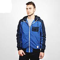 Куртка, ветровка, бомбер, демисезонная, мужская, весенняя, осенняя, синий+черный