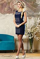 Летнее темно-синее креп-шифоновое платье  2141 Seventeen 44-50 размеры