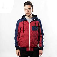 Куртка, ветровка, бомбер, демисезонная, мужская, весенняя, осенняя, красный+черный