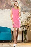 Летнее розовое креп-шифоновое платье  2139 Seventeen 44-50 размеры
