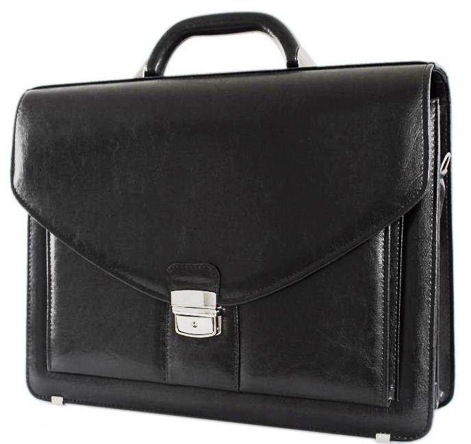 Большой деловой портфель из искусственной кожи 4 отдела, Jurom, Польша 0-37-111 черный