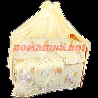 Набор в детскую кроватку из 7 предметов: постель, защита, балдахин, большое одело 140х100,подушка,100% хлопок Желтый