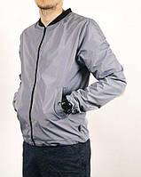 Куртка, ветровка, бомбер, демисезонная, мужская, весенняя, осенняя  серый