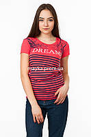 Женская футболка с принтом Dreams цвет коралл p.44-46 SS2-1