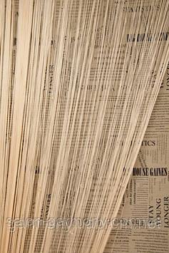 Серпанок Кремові штори нитки з квадратынм зі стеклярусом