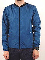 Куртка, ветровка, бомбер, демисезонная, мужская, весенняя, осенняя  синий