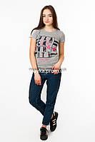 Женская футболка с принтом Black&White цвет серый p.44-46 SS3-1