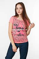 Женская футболка с принтом Звезда цвет коралл p.44-46 SS1-1