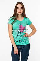 Женская футболка с принтом Paris цвет бирюза p.44-46 SS4-1