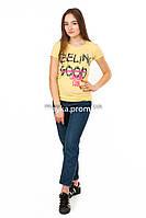 Женская футболка с принтом Feeling good цвет желтый p.44-46 SS5-1