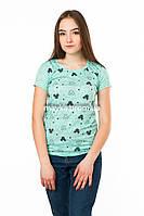 Женская футболка с принтом Микки цвет мята p.42-44 SS6-1