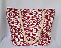 Пляжная текстильная летняя сумка для пляжа и прогулок  Орнамент красный
