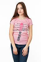 Женская футболка с принтом Forget to rules цвет розовый p.42-44 SS7-1