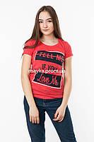 Женская футболка с принтом Forget to rules цвет красный p.42-44 SS8-1