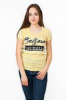 Женская футболка с принтом Believe in yourself цвет желтый p.42-44 SS9-1