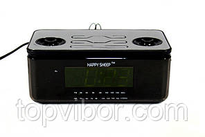 Будильник настольные часы со встроенным радио-проигрывателем Happy Sheep YJ-8118 электронный