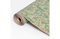 Крафт-бумага Гофре (в гармошку) подарочная Зеленое перо на крафте 10 м/рулон