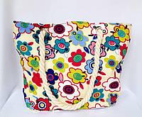 Пляжная текстильная летняя сумка для пляжа и прогулок Цветы