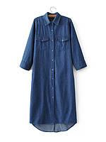 Удлиненное джинсовое платье рубашка, фото 1