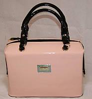 Кремовая (персиковая) каркасная лаковая сумка B.Elit