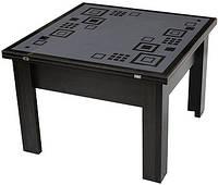 Стол-трансформер зеркало с изображением пескоструй (2 в 1 журнальный + обеденный)