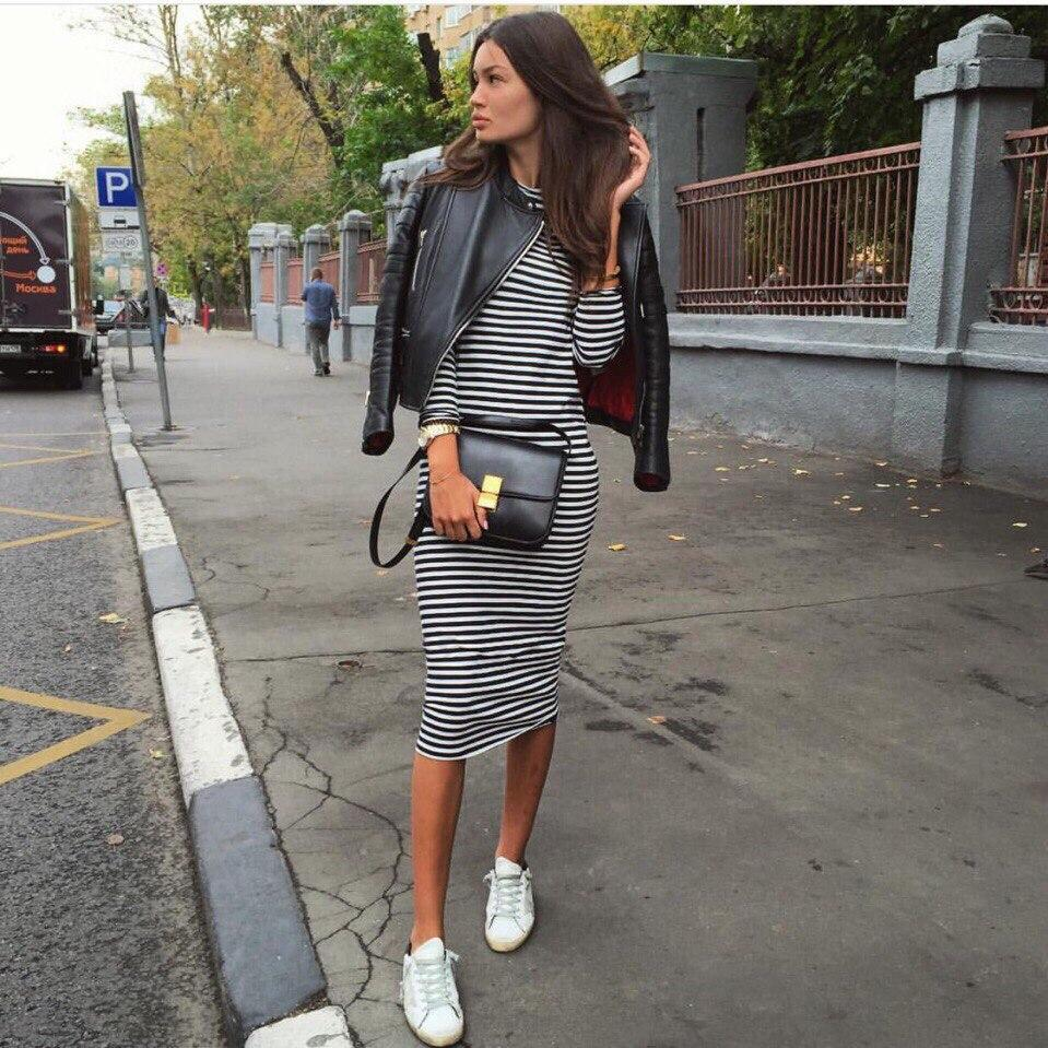 4f071dbf03d Женское платье тельняшка (в полоску ) миди длинный рукав  продажа ...