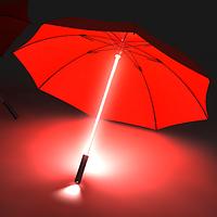 Зонт трость с подсветкой и фонариком, светящийся зонт