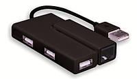 Адаптер Wiretek WK-EU400b, USB2.0 to Ethenet+3Port hub, black