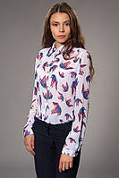 Женская блуза-рубашка шифоновая с принтом