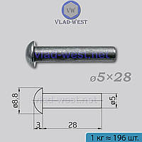 Заклепка черная с полукруглой головкой стальная Ø5x28 DIN 660 (ГОСТ 10299-80) под молоток