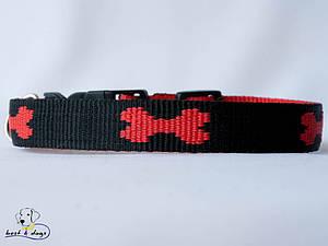 Ошейник, черно-красный, 25мм(метал)