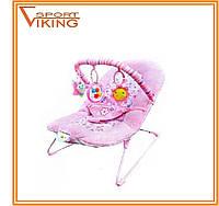 Шезлонг качалка для девочки, цвет розовый