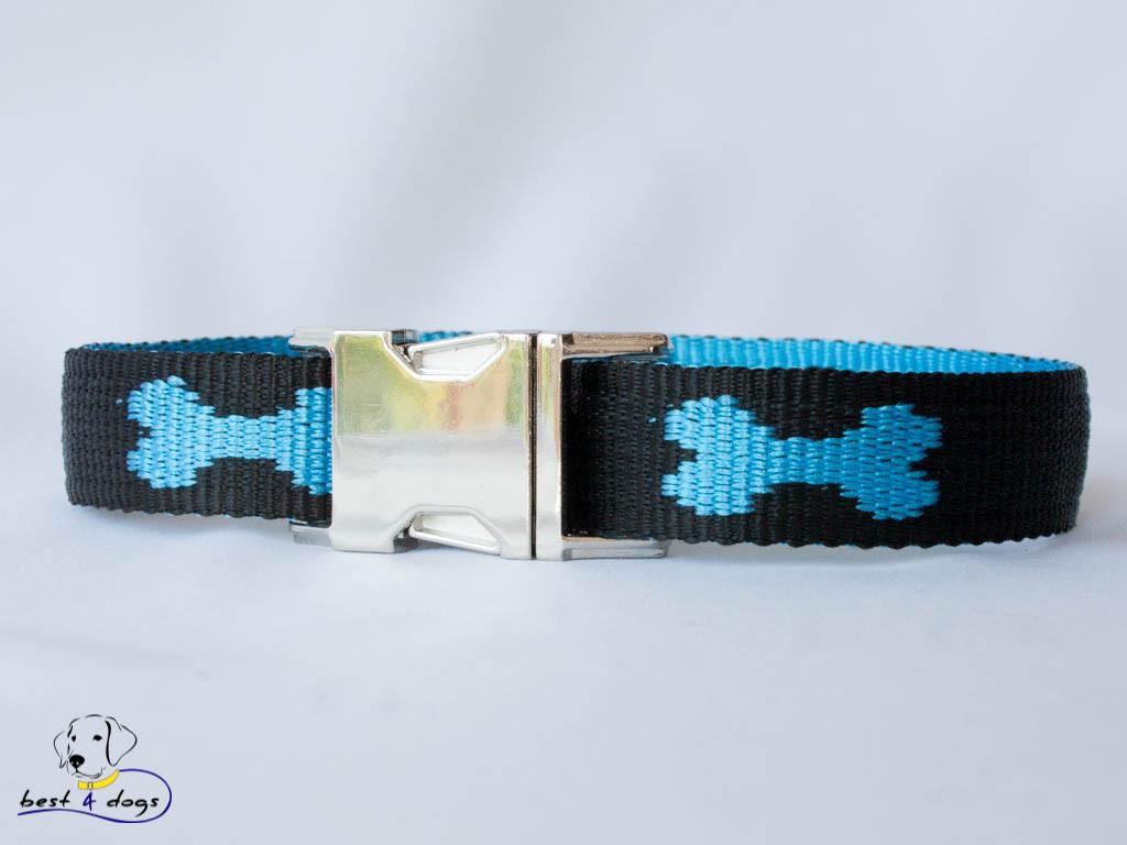 Ошейник, черно-голубой, 25мм(метал)