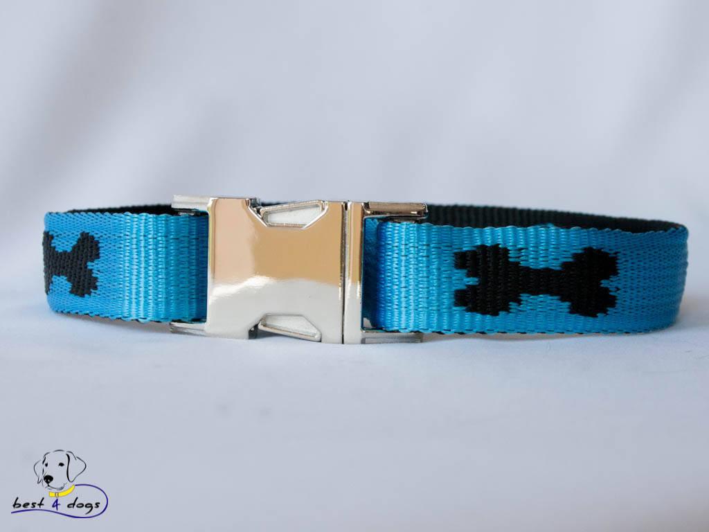 Ошейник, голубой-черный, 25мм(метал)