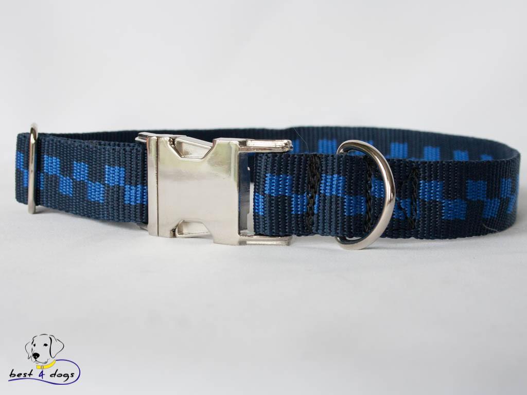 Ошейник, синие квадраты, 25мм(метал)