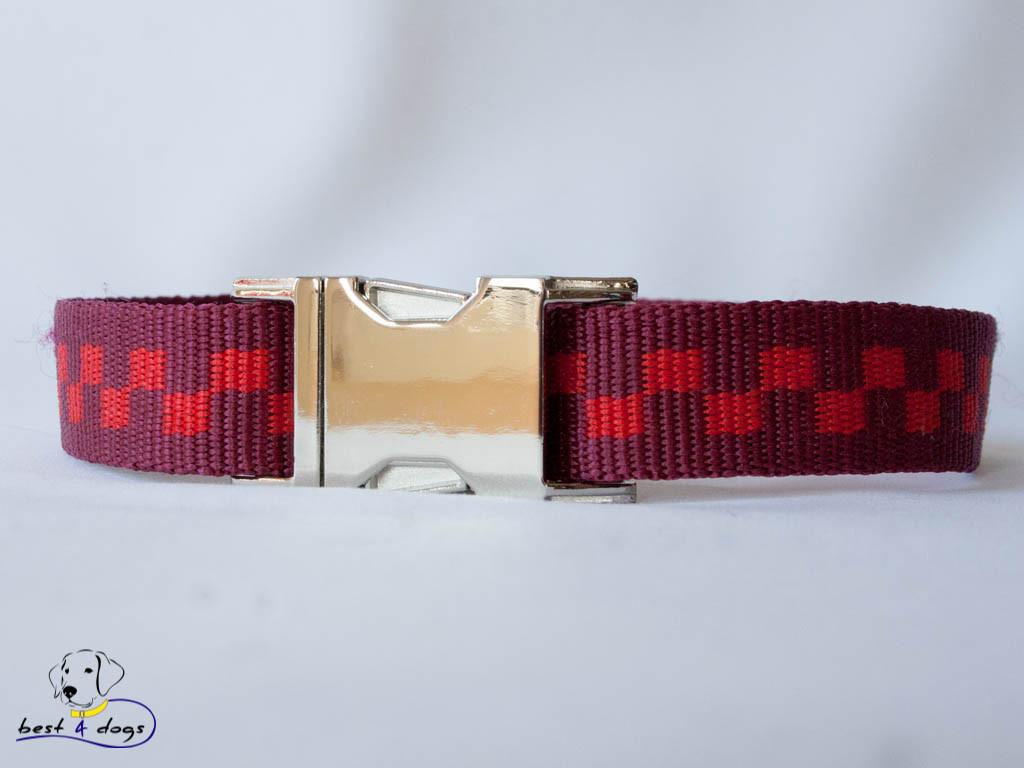 Нашийник, червоні квадрати, 25мм(метал)