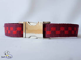 Ошейник, красные квадраты, 25мм(метал)